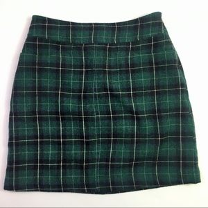 Merona Wool Green/Navy/White Plaid Skirt
